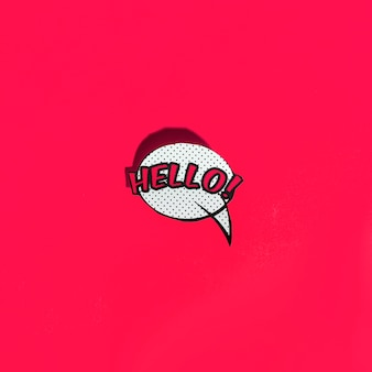 Vector speech bubble icon with hello greeting on red background