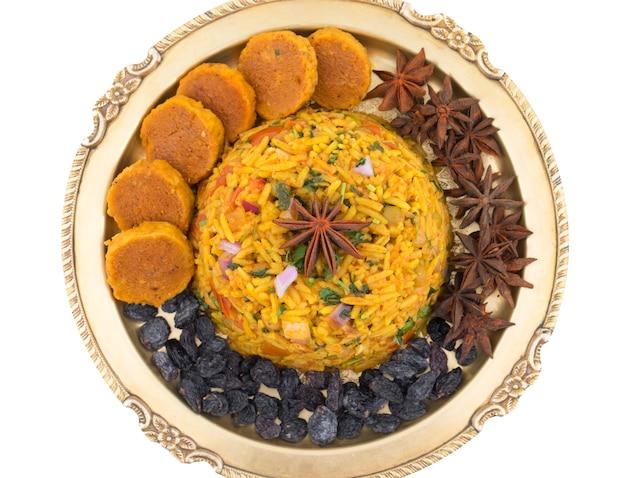 インドの伝統的なデザートveg biryani