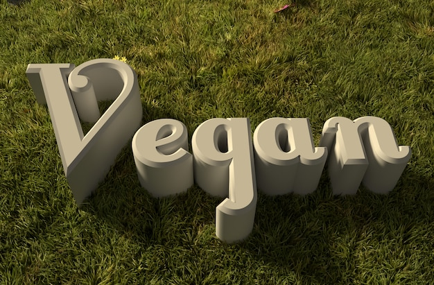 Vegan 3d wording on grass
