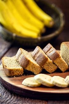 Vegan banana bread, unsweetened and gluten free, vegan food