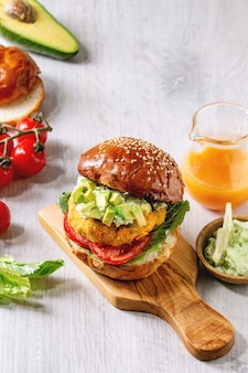 Vegan burger with carrot