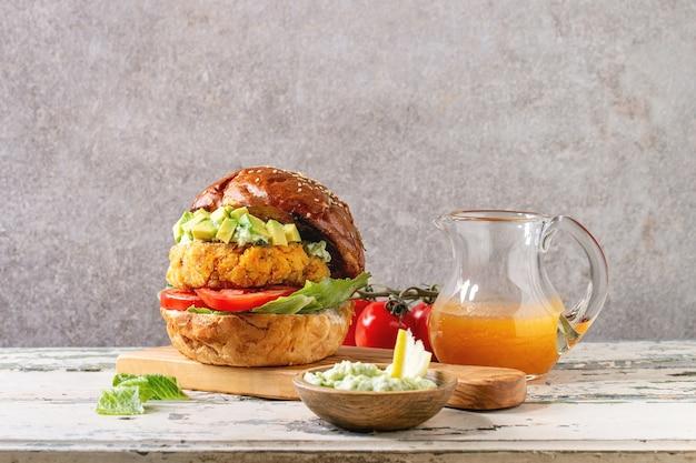 Vegan burger with carrot