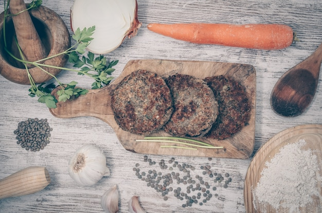Vegan burger with lentils. vegan dish healthy. wooden background