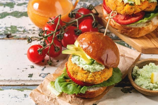 Vegan burgers with carrot