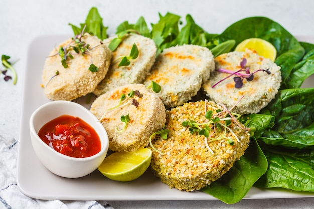 Vegan cutlets (burgers) of lentils, chickpeas and beans. healthy vegan food concept, detox dish, plant based diet.