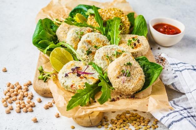 Vegan cutlets (burgers) of lentils, chickpeas and beans. healthy vegan food concept, detox dish, plant based diet.