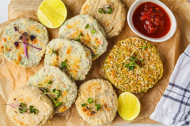 Vegan cutlets (burgers) of lentils, chickpeas and beans, top view. healthy vegan food concept, detox dish, plant based diet.