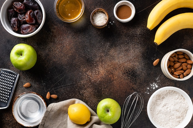 Vegan dessert ingredients and utensils