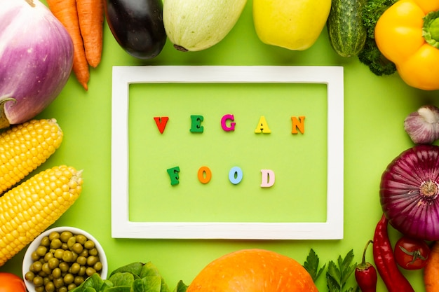 Vegan food lettering in white frame