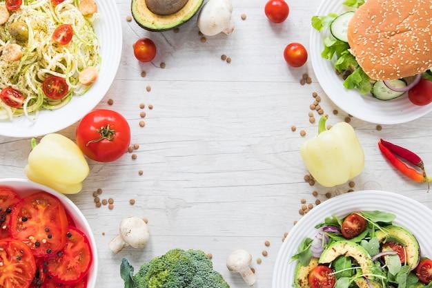Vegan goodies with copy space