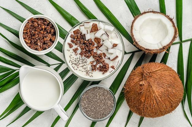 치아씨드가 든 코코넛 밀크에 비건 그라놀라 그릇. 슈퍼 푸드 개념입니다.