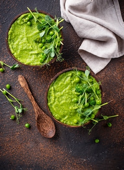 Vegan green broccoli soup or smoothie