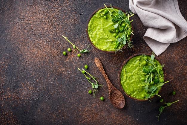Vegan green broccoli soup or smoothie