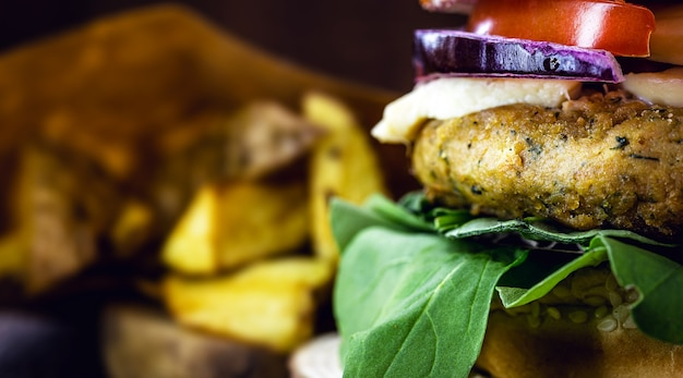Vegan hamburger, without meat, snack based on seeds, soy, plants and protein