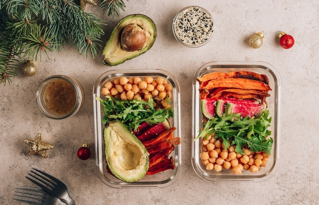 Vegan healthy meals in containers