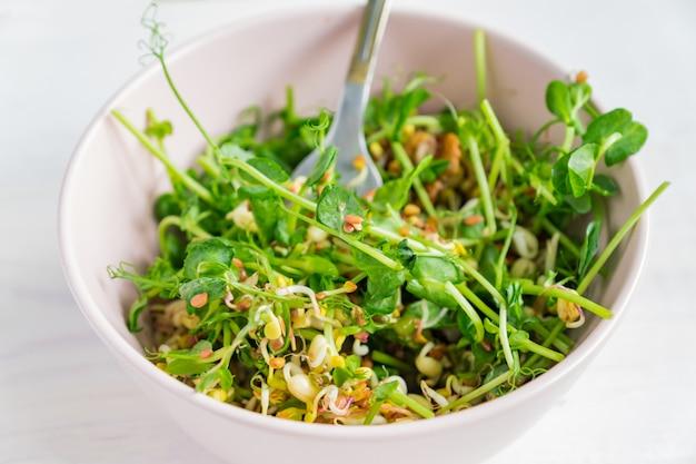 Веганский полезный салат из гороха с зелеными ростками и проросшей фасолью в розовой миске на сером
