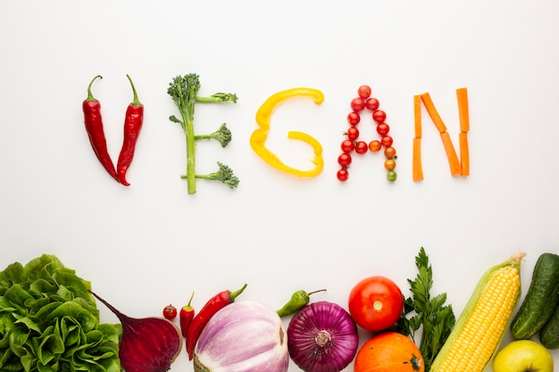 Vegan lettering made out of vegetables