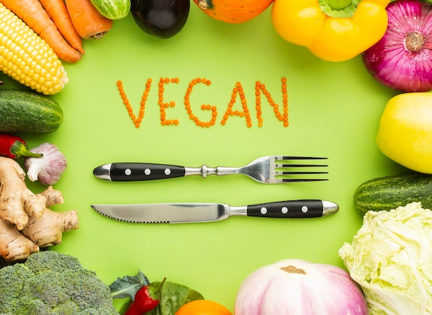 Vegan lettering with fork and knife