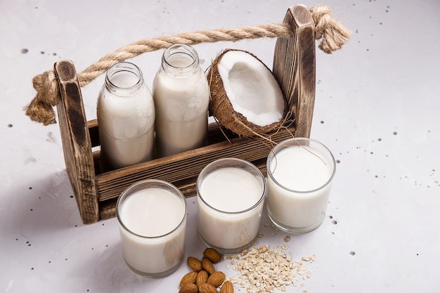 Vegan milk from coconut, oatmeal and almonds