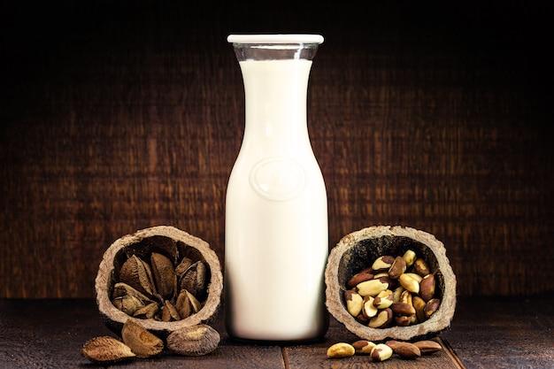 Vegan milk made from brazil nuts, brazilian almond used in alternative vegan milk