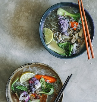 Vegan noodle soup with tofu food photography recipe idea