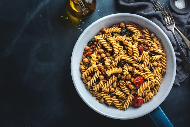 Vegan pasta with vegetables and chickpeas