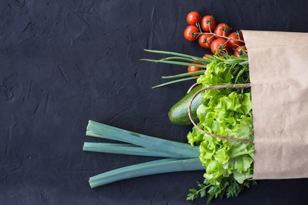 Vegan shopping package of vegetables