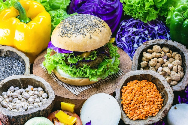 Vegan snack, meat-free vegan burger, made with whole grain bread, proteins, lychee, vegetables and chickpeas.