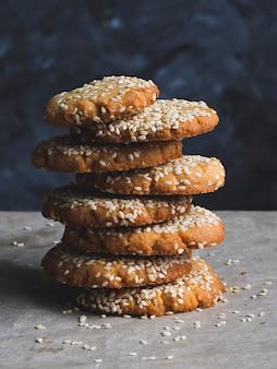 Vegan tahini cookies, gluten-free, close up