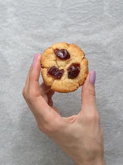 Vegan tahini date cookies, gluten-free, close up