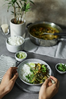 Vegan vegetable curry with rice
