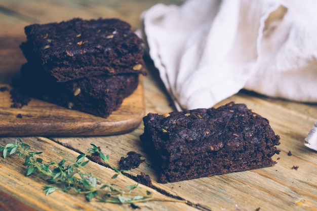Vegan zucchini flourless paleo and pumpkin brownies (keto, low carb and gluten-free)