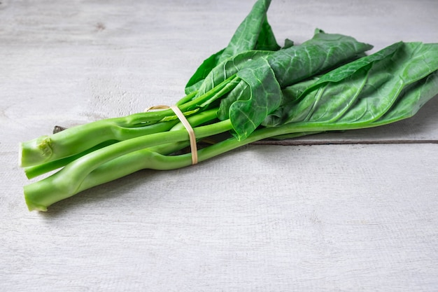 Vegetable chinese kale on white