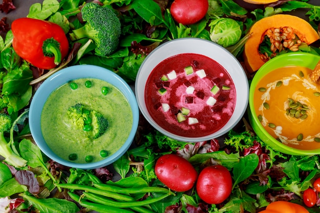 Vegetable colorful assortment cream soup and ingredients