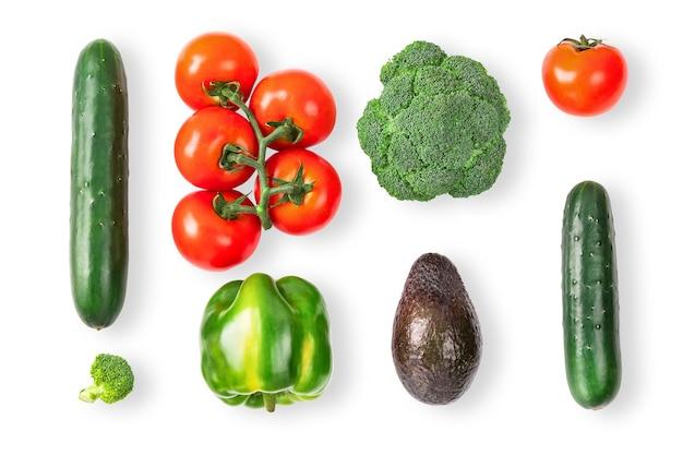 白の野菜の創造的なレイアウト