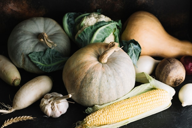 Vegetable ingredients assortment front view