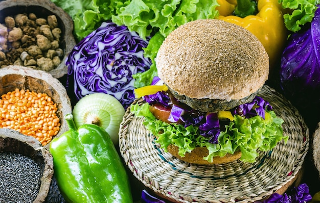 Vegetable meat, meatless hamburger, bread without eggs or milk, 100% vegan food, healthy lifestyle