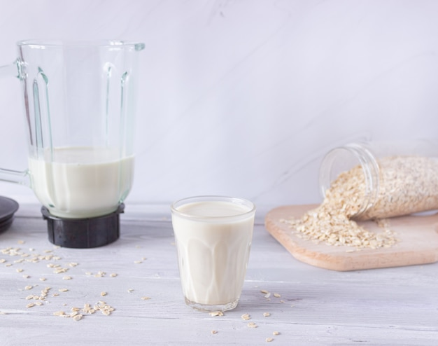Vegetable oat milk in a glass cup