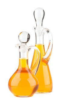 Vegetable oil glass bottle isolated on white