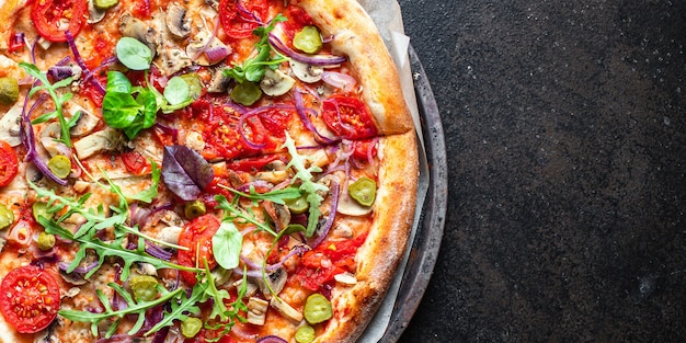 Vegetable pizza tomato, pickles, mushroom, olives vegan or vegetarian