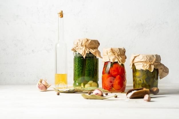 Vegetable preserves in glass jars