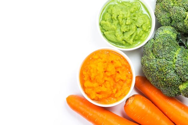 Vegetable puree, carrots  pureed ,broccoli pureed