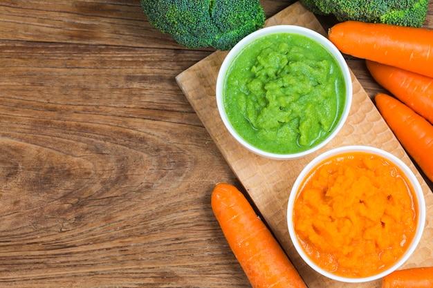 Vegetable puree, carrots  pureed,broccoli pureed