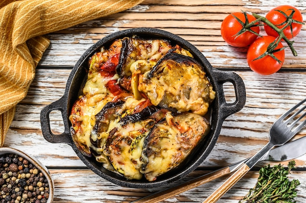 Vegetable ratatouille baked in cast-iron dish