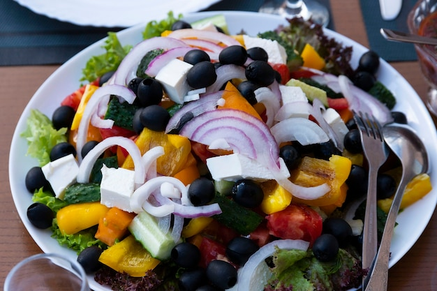 野菜サラダ、前菜、チーズ、オリーブ、赤玉ねぎ、トマト、ピーマン添え。ギリシャサラダ。セレクティブフォーカス。
