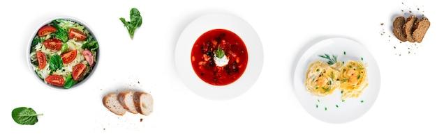 Овощной салат, борщ, изолированные феттучини. продовольственный баннер.