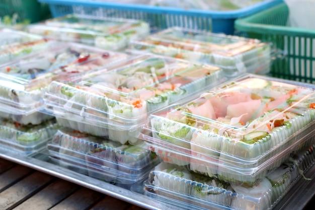 Vegetable salad rolls at street food