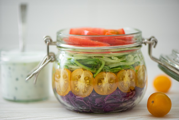 Vegetable salad of tomato, cabbage and cucumbers in a jar