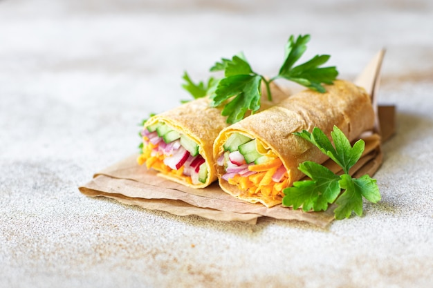 Vegetable shawarma doner kebab pita bread filling vegetables dish on the table healthy meal snack