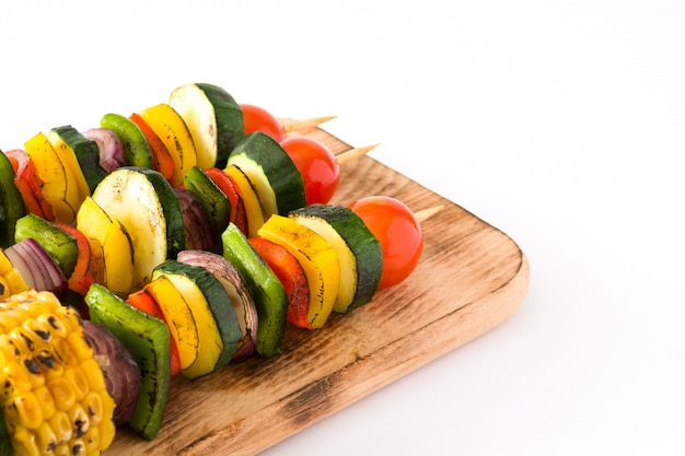 Vegetable skewers isolated on white